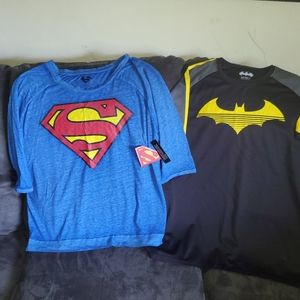 2 different 1X super hero shirts